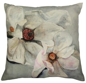 French Country Magnolia Rectangle Cushion Light Blue - 50x50cm