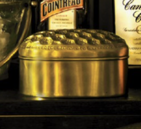 French Country Honeycomb Brass Oval Box