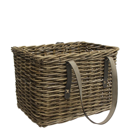French Country Grove Magazine Basket w Leather Large