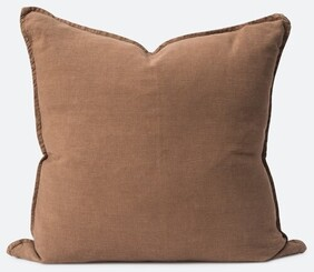 Citta Washed Linen Cushion Filled Tobacco - 60x60cm