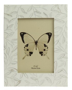 Amberlene Etched Small Leaves Photo Frame - Antique White 4x6