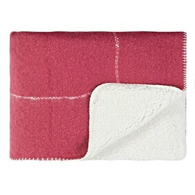 Linens & More Grid Sherpa Throw Rumba Red - 130x170cm