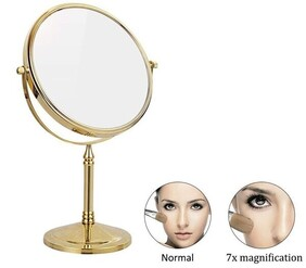 Famego Double Sided Stand 1x 7x Mirror - Gold 17cm