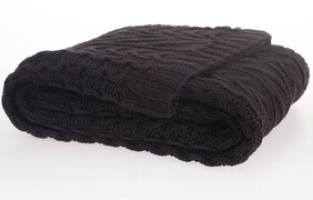 MM Linen Cable Throw Coffee