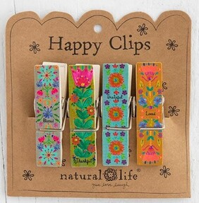 Natural Life Loved Thankful Happy Clips - Set 4