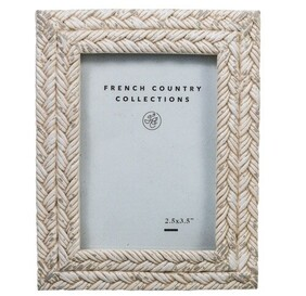 """French Country Rope White Wash Photo Frame 2.5x3.5"""""""
