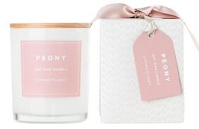 Living Light Peony Soy Candle - 60hrs