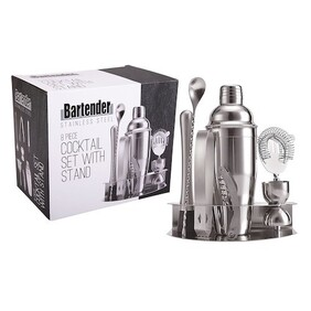 Bartender Cocktail Set & Stand 8 Peice Stainless