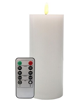 Le Forge LED Battery Remote Pillar Candle - White 7.5x17.5cm
