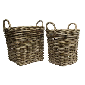French Country Grove Round Basket with Handles Medium