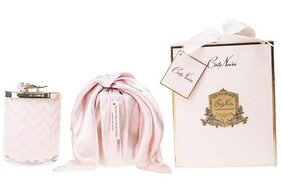 Cote Noire Herringbone Candle - Pink Rose with Scarf