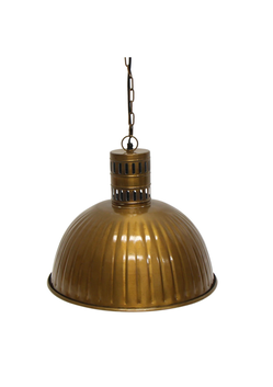 French Country Dome Ribbed Brass Finish Hanging Lamp