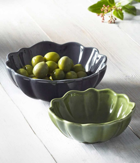 MM Linen Scallop Nibble Bowl Grey - Large