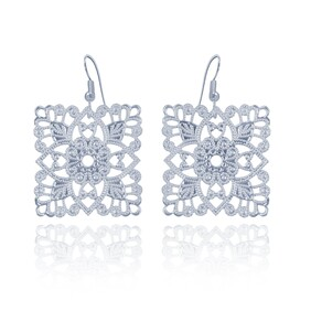 Lacey Square Earrings - Silver