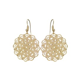 Lacey Circle Earrings - Yellow Gold