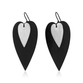 Amour Large Earrings - Black/Silver