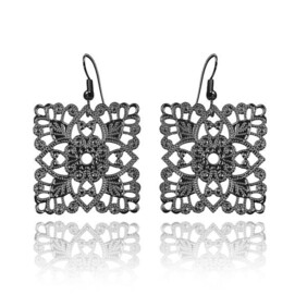 Lacey Square Earrings - Black