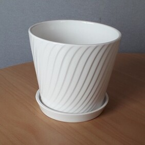 White Ceramic Tapered Pot with Saucer