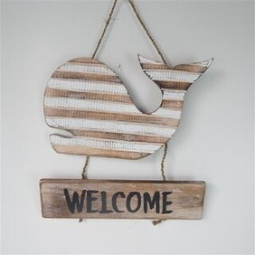 Welcome Whale Sign - Natural / White