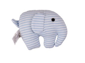 Stripped Elephant Squeaker Rattle - Blue