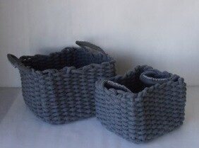 Small Cotton Rope Basket - Grey