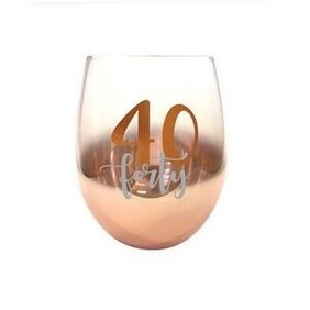 40th Ombre Stemless Wine Glass