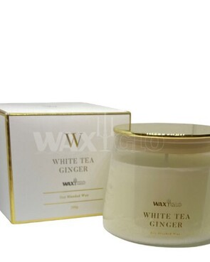WaxGlo Jar Candle 'W' Scented - White Tea Ginger