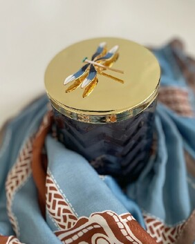 Cote Noire - HERRINGBONE CANDLE WITH SCARF - NAVY