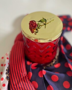 Cote Noire Herringbone Candle with Scarf - Red