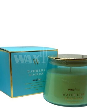 WaxGlo Jar Candle 'W' Scented - Water Lily Seagrass