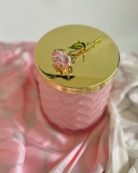 COTE NOIRE - HERRINGBONE CANDLE WITH SCARF - PINK