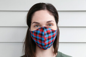 Blue Red Check Cotton Face Mask