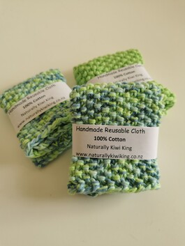 Handmade 100% Cotton  Face Scrubbie Set of 4 Lime Green Mixed