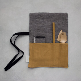 Linen Cutlery Wrap - Soft Charcoal with Mustard Pocket