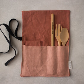 Linen Cutlery Wrap - Dusky Rose with Pink Pocket