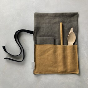 Linen Cutlery Wrap - Olive with Mustard Pocket