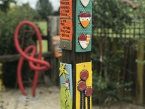 Garden Tile Post with Flowers