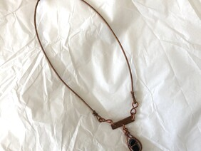 Large copper and gemstone necklace
