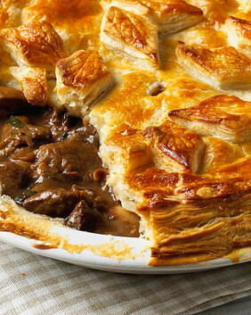 Venison in Red Wine Gravy Pie for two