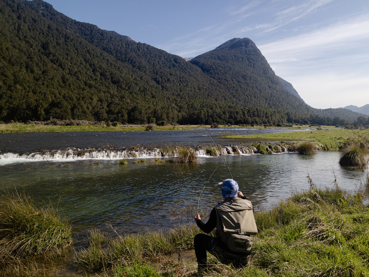 Harry stalking a wild backwater brown in the New Zealand wilderness. Todd Adolph
