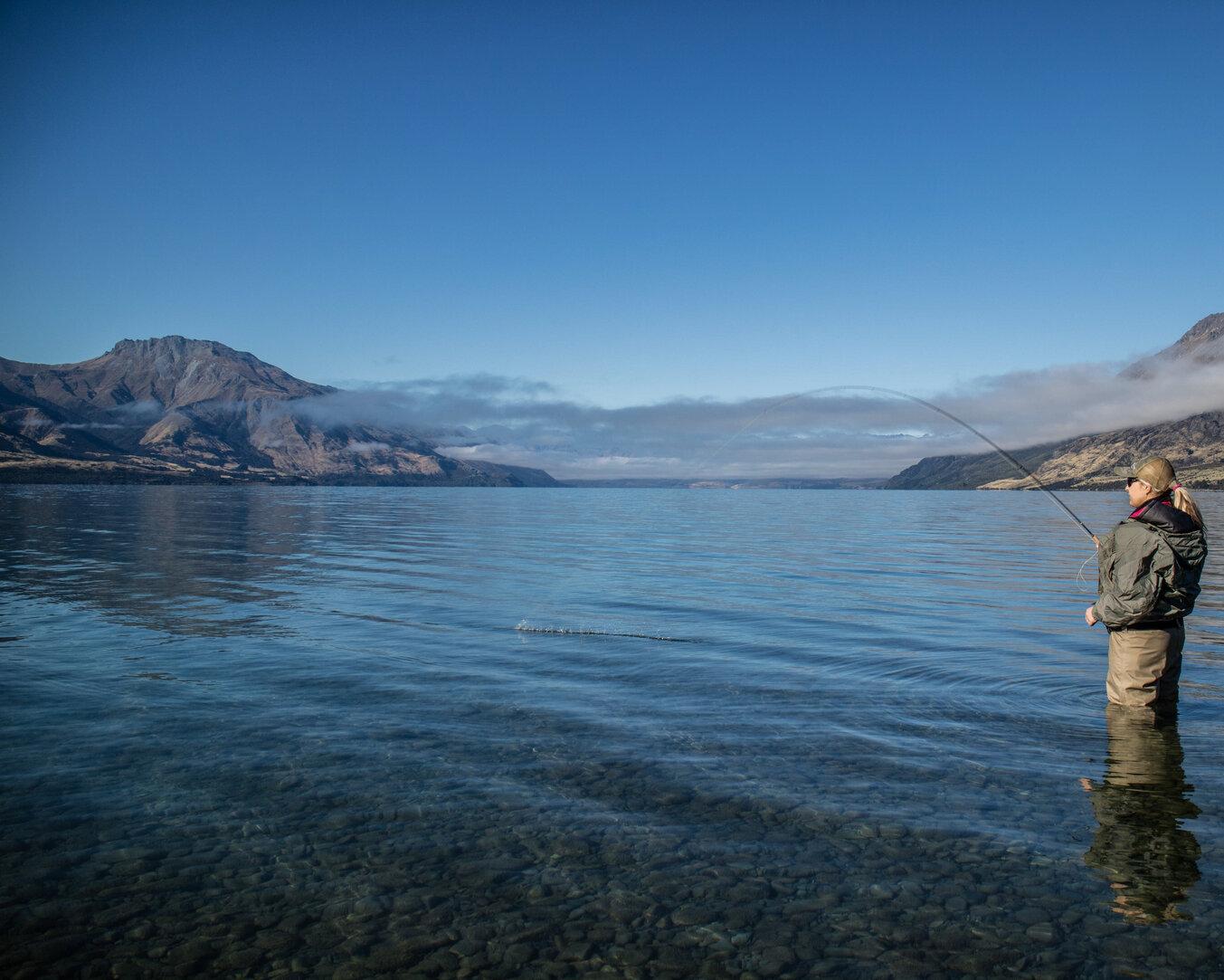 Queenstown Lake edge stalking on Lake Wakatipu. The lake of the sleeping giant  Todd Adolph