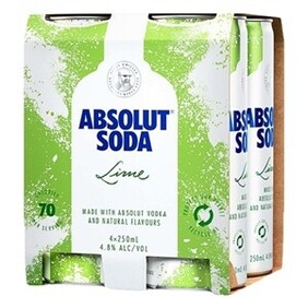 Absolut lime Soda 4  Pk Cans