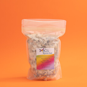 750g compostable bag of Natural Epsom Salt with Organic Herbs & Flowers