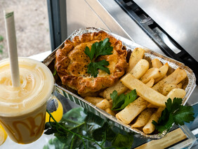 Hot Pot Pie with fries