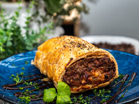 Monster sausage roll with fries