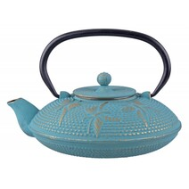Teaology Cast Iron Teapot Butterfly Turquoise/Gold