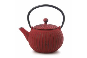 Teaology Cast Iron Teapot - Red/Black Ribbed