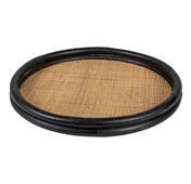 Linens & More Rattan Tray with Woven Base - Black
