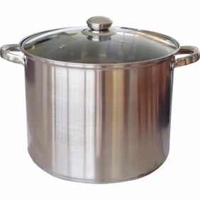 Di Antonio Stock Pot Stainless Steel with Glass Lid
