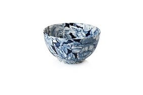 Burleigh Ink Blue Hibiscus Sugar Footed Bowl